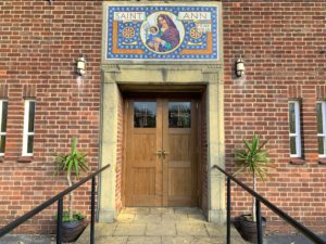 Photo of the front door of St Ann's Cheadle Hulme