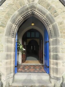 An open church door