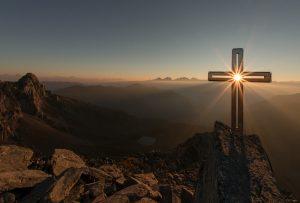 Easter cross at sunrise